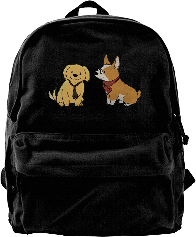 Corgi Manufacturer OFFicial 25% OFF shop Golden Retriever Canvas Backpacks Laptop Bags High-Capacit