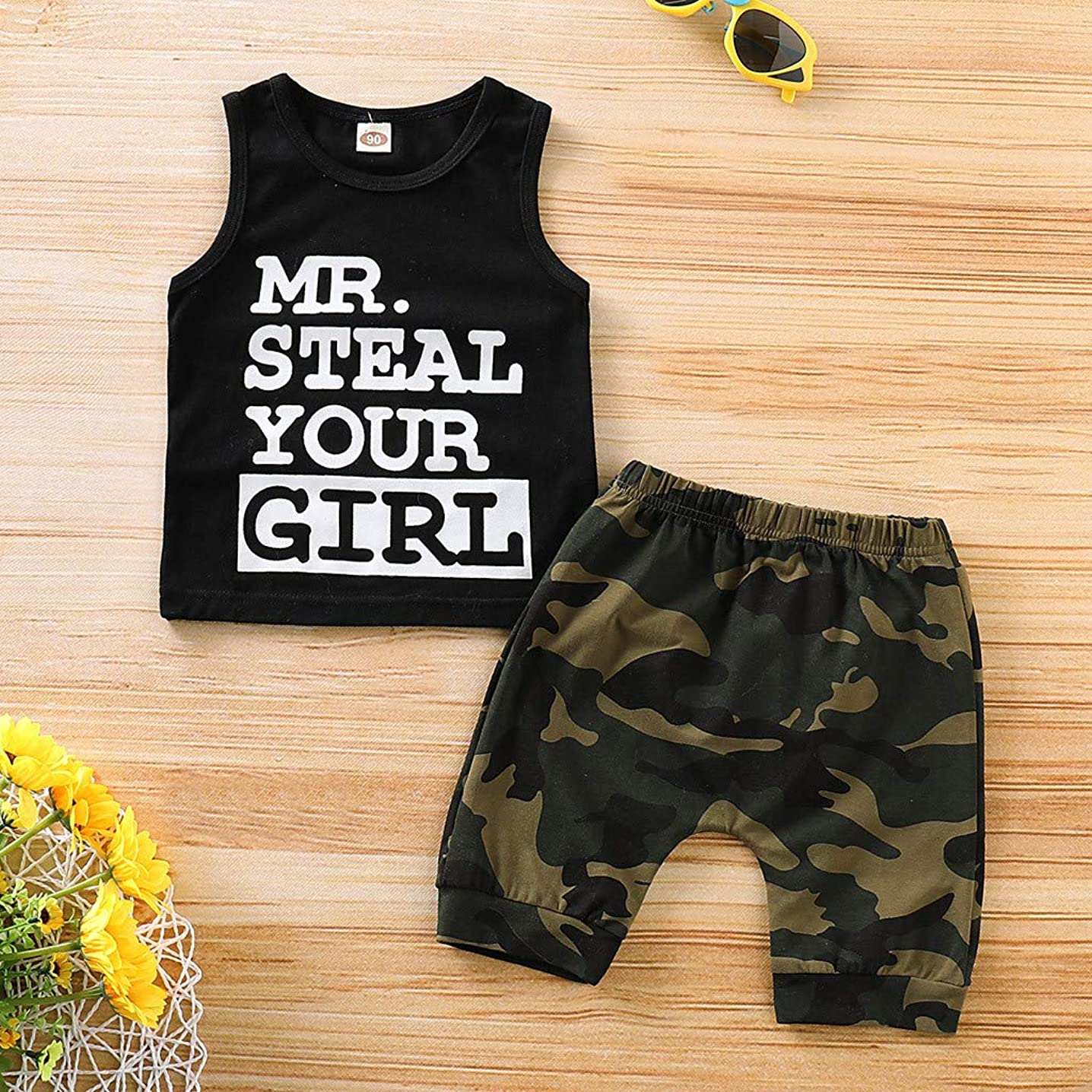 Toddler Baby Boy Clothes Vest T Shirt Tops+Camouflage Shorts Pants Outfits Set