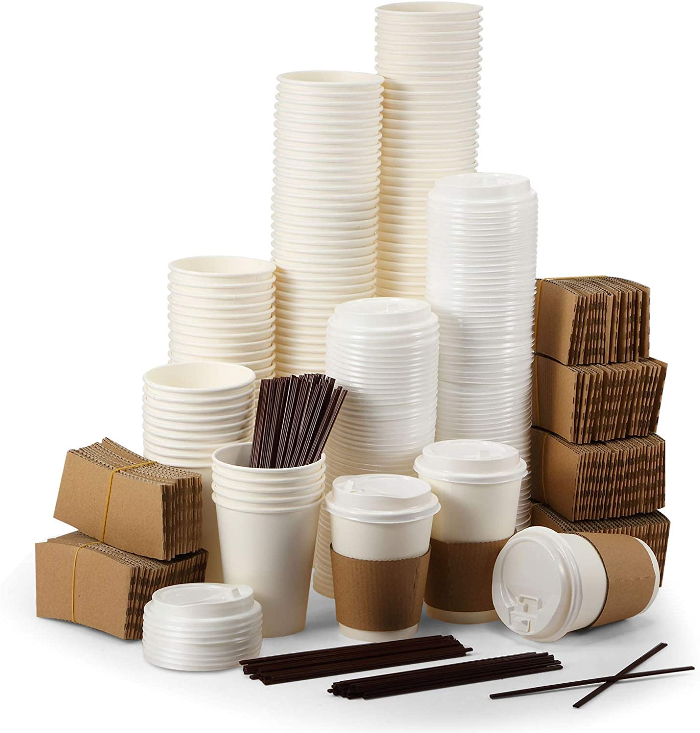 150 Sets 100 Pieces 12oz Pure discount Coffee Max 76% OFF 50 Piece Cups Paper White