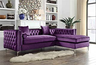 Iconic Home Da Vinci Velvet Modern Contemporary Button Tufted with Silver Nailhead Trim Silvertone Metal Y-Leg Right Facing Sectional Sofa, Purple