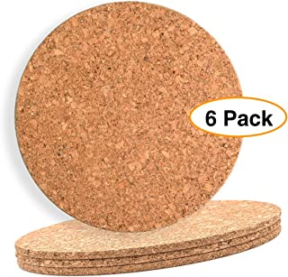 """Large Cork Mat 8 """" x 1/8"""" Round (6 Pack) Hot Pot Stands placemat or planter bottom"""