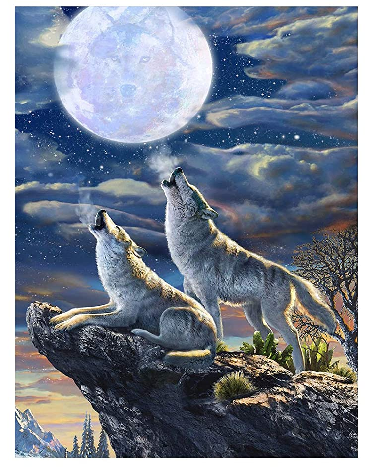 Twuky 5D Diamond Painting Kits Full Drill Diamond Embroidery-Home Decoration Process-Wolf Howling(14X18inch)