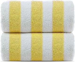 Towel Bazaar 100% Turkish Cotton Multipurpose Towels-Large Bath Sheet/Beach Towel/Bath Towel, Eco-Friendly (Yellow, Cabana - 2 Pack)