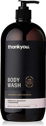 Thankyou Body Wash Botanical Geranium & Rosewood - Calming, 1L (more options available)