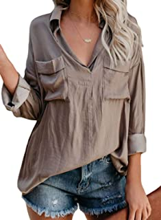 Womens V Neck Long Sleeve Pockets Solid Shirts Tops and Blouses S-XXL