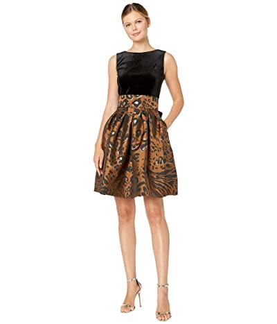 Tahari by ASL Sleeveless Velvet and Animal Print Jacquard Cocktail Dress (Copper Leopard) Women