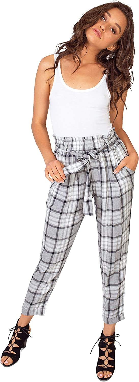 Bebop Women's High Waist Ruffle Tie Striped Plaid Casual Tapered Pants Pockets