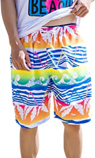 Ocamo Short Pants Summer Lovers Beach Short Pants Casual Quick Drying Sports Baggy Pants Colorful Wave Pattern Fashion Shorts