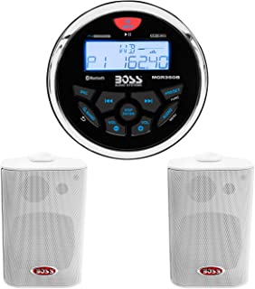 $124 » BOSS Audio Systems MGR350B Marine Gauge Receiver - Bluetooth, Digital Media MP3 Player + MR4.3W 200-Watt 3 Way Marine 4-In...