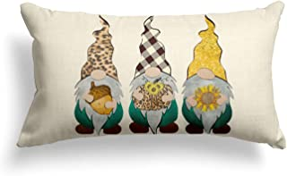 AVOIN Fall Thankful Leopard Buffalo Plaid Gnomes Hazelnut Sunflower Throw Pillow Cover, 18 x 18 Inch Autumn Thanksgiving F...