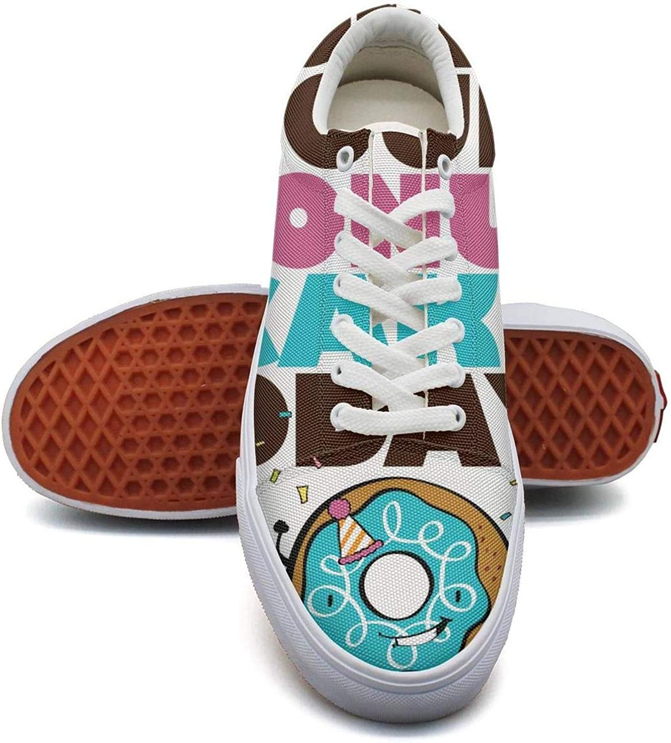 TYYIN Womens Happy National Doughnut Day bluee Printed Slip on Casual Canvas shoes