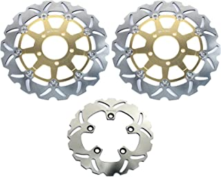 TARAZON Full Set Brake Rotors Discs for Suzuki SV650 SV 650 S 2003-2012 Gold Set