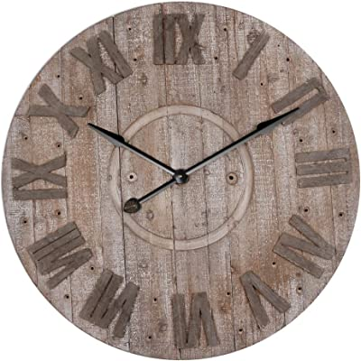 "Parisloft 34.1"" Large Oversized Round Roman Numeral Rustic Wood Quartz Wall Clock Home Room Decoration"