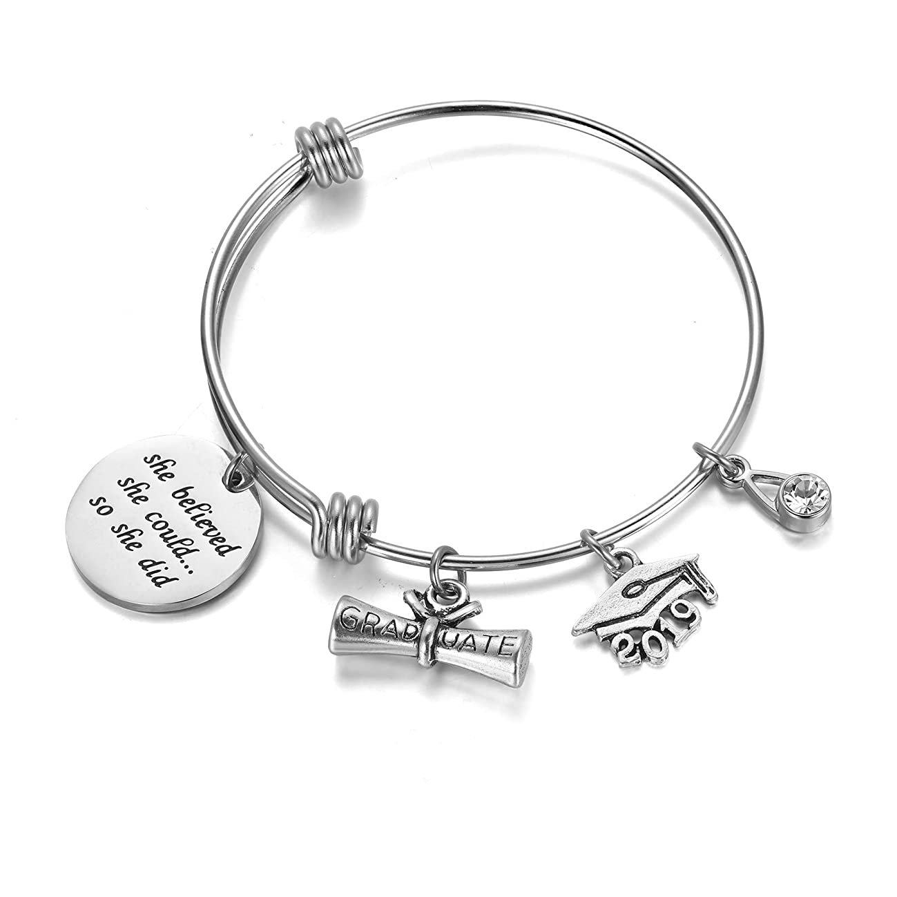 AZORA Inspirational Bracelet for Women Stainless Steel Cuff Bangle Mantra Quote Keep Going Message Engraved Uplifting Jewelry Gift for Teen Girls Sister Friend