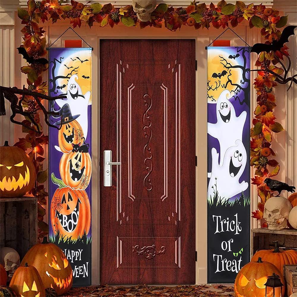 Halloween Outdoor Decorations - hogardeck Trick or Treat Halloween Porch Sign Banner with Pumpkin Ghost Spider Pattern Home Decor for Front Door Garden Party