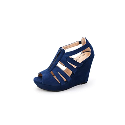 24d1b2b2730 Blue Navy Wedge Sandals: Amazon.com