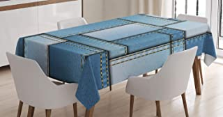 Ambesonne Country Tablecloth, Patchwork of Different Size Blue Toned Shapes Pattern with Vertical Warp Beam Artprint, Dining Room Kitchen Rectangular Table Cover, 52