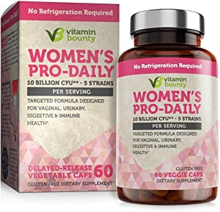 Vitamin Bounty Probiotic & Prebiotic for Women - 10 Billion CFUs Per Serving with Cranberry, 5 Strains - for Feminine Heal...
