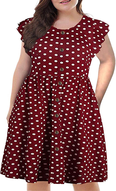 BEDOAR Women's Summer Plus Size Ruffle Sleeve O-Neck Button Down Casual A-Line Swing Dress with Pockets