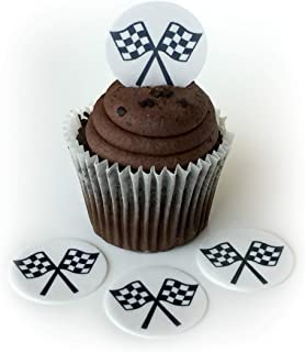 Car Racing Checkered Flag Wafer Paper Toppers 1.5 Inch for Decorating Desserts Cupcakes Birthday Cakes Cookies Pack of 12