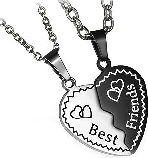 Flongo Collana dell'amicizia, con ciondolo Best Friends, 2 pezzi, in acciaio inox, collana dell'amicizia, a forma di cuore...