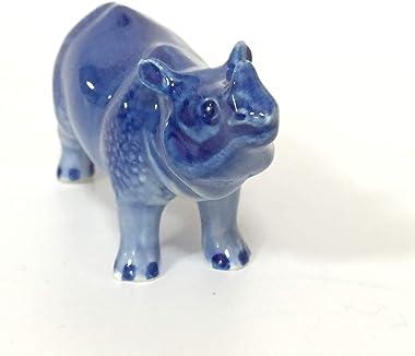 Ceramic Rhinoceros Figurine Dollhouse Delft Blue White Collectible Miniature Bonsai Garden Handmade Painted Gift