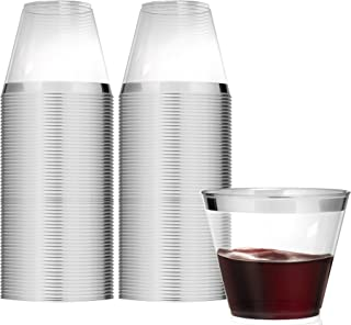 9 Ounce Clear Plastic Cups (100 Count) Disposable Party Cups - Old Fashioned Reusable Plastic Tumblers, Silver