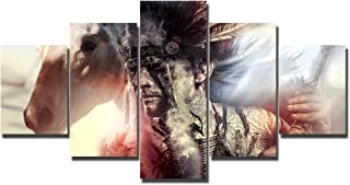 American Indian Warrior Wall Art Chief of the Tribe Painting 5 Panel Canvas Feather Headdress and Tomahawk Picture Home Decor for Living Room,Artwork Framed Gallery-wrapped Ready to Hang(60''Wx32''H)