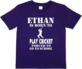 Print4u T-Shirt Born to Play Cricket Ethan Personalised Tee