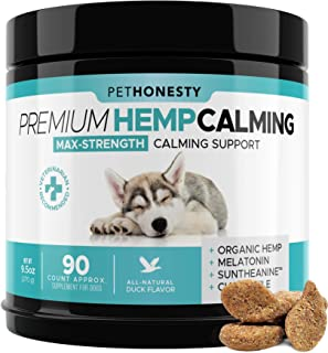 PetHonesty Advanced Calming Hemp Treats for Dogs - All-Natural Soothing Snacks with Hemp + Valerian Root, Stress & Dog Anx...