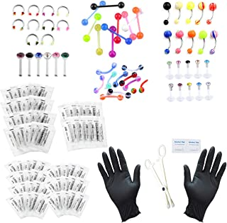 126pcs Body Piercing Kit Ear,Eyebrow,Nipple,Lip,Belly Button,Tongue,Nose Piercing Jewelry 14G,16G,20G - Needles, Gloves Tools Included