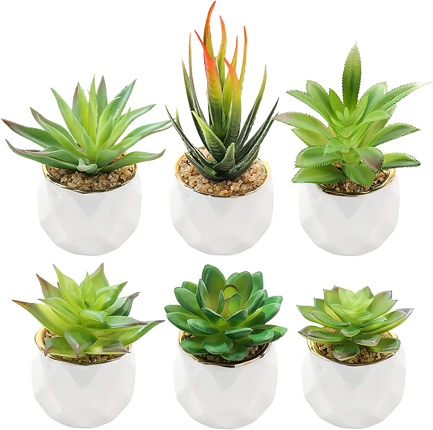 Hedume Set of 6 Fake Succulent Plants, Artificial Succulents in Geometric Ceramic Planter Pots with Gold Rim, Mini Realistic Fake Plants for Home and Office Decoration, 2 3/4