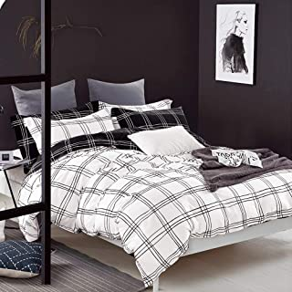 FADFAY Target Bedding Black and White Grid Buffalo Check Duvet Cover Set Reversible 100% Cotton Hypoallergenic Super Soft with Hidden Zipper Closure 3 Pieces Twin Size
