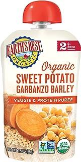 Earth's Best 2段 婴孩食品,甘薯,鹰嘴豆和大麦泥,3.5盎司(99克)(12包)