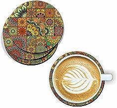 Designer Handmade Mandala Pattern Wooden Coaster Set for Home Kitchen, Office Desk (Set of 6, 4 inch)