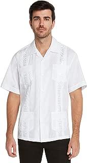 Essentials Men's Guayabera Button Down Shirt-Beige-Small