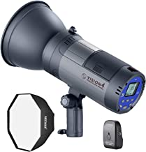 Neewer Vision 4 300W Li-ion Battery Powered Outdoor Studio Flash Strobe (700 Full Power Flashes with 2.4G System, Trigger Included), Bowens Mount with Softbox Kit for Video Location Photography