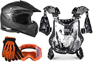 Typhoon Youth Off Road Motocross Helmet Gloves Goggles Chest Protector Combo ATV Dirt Bike MX - Orange, Matte Black (XL)