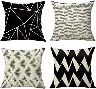 WOMHOPE Set of 4 European Classic Throw Pillow Covers Decorative Burlap Toss Pillowcases Square Cushion Cases 18 x 18 Inch for Living Room,Couch,Bed (Black A (Set of 4))