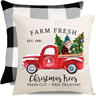 PANDICORN Set of 2 Farmhouse Christmas Pillows Covers for Home Décor, Red Truck Plaid Dog Costume Christmas Trees, Black and White Buffalo Plaid Throw Pillow Cases, 18x18