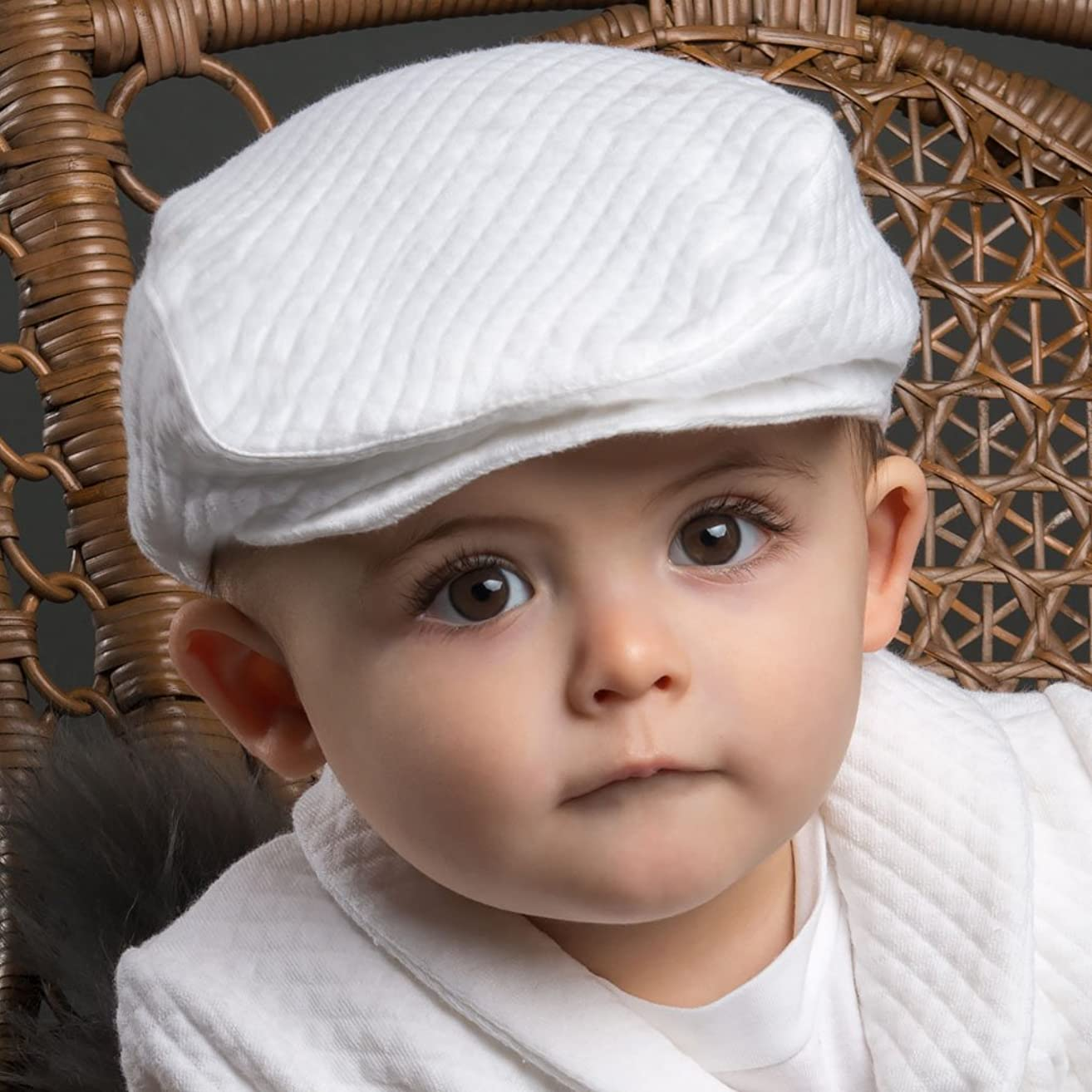 Elijah Baby Boy Quilted Christening and Baptism Newsboy Hat Soft White