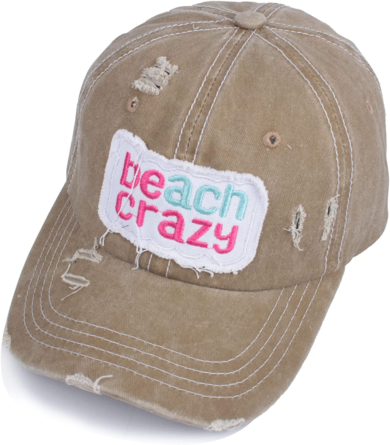 Crazy Era Womens Baseball Cap Distressed Vintage Ripped Dad Hats Unconstructed Embroidered Patch Hat