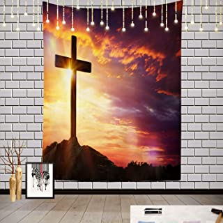 Batmerry Sunset Sunrise Tapestry, Christ On The Cross Picnic Mat Hippie Trippy Tapestry Wall Art Meditation Decor for Bedr...