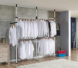 Cocoarm Garde-Robe Téléscopique Systèmes de Penderie Porte-Vêtements avec Barres Transversales Hauteur et Largeur Aajustab...