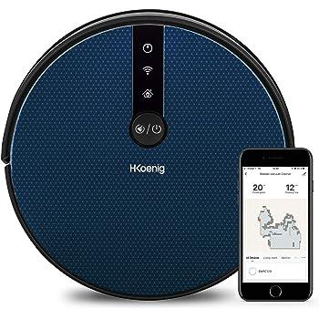 H.Koenig SWRC120 Aspirador Robot WaterMop Gyro+ Alto Rendimiento con WIFI, Google Home y Alexa, Capacidad de agua 350 ml, 100 Min de Autonomía, Detección de Obstáculos y Vacío, 4 Programas, Silencioso: Amazon.es: