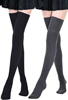 Extra Long Cotton Thigh High Socks Over the Knee High Boot Stockings Cotton Leg Warmers