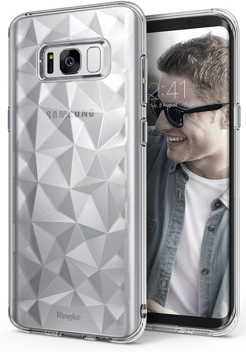 Ringke Air Prism Compatible with Galaxy S8 Case 3D Vogue Design Chic Ultra Rad Pyramid Diamond Pattern Flexible Jewel Textured Protective TPU Cover for Samsung Galaxy S8 2017 - Clear