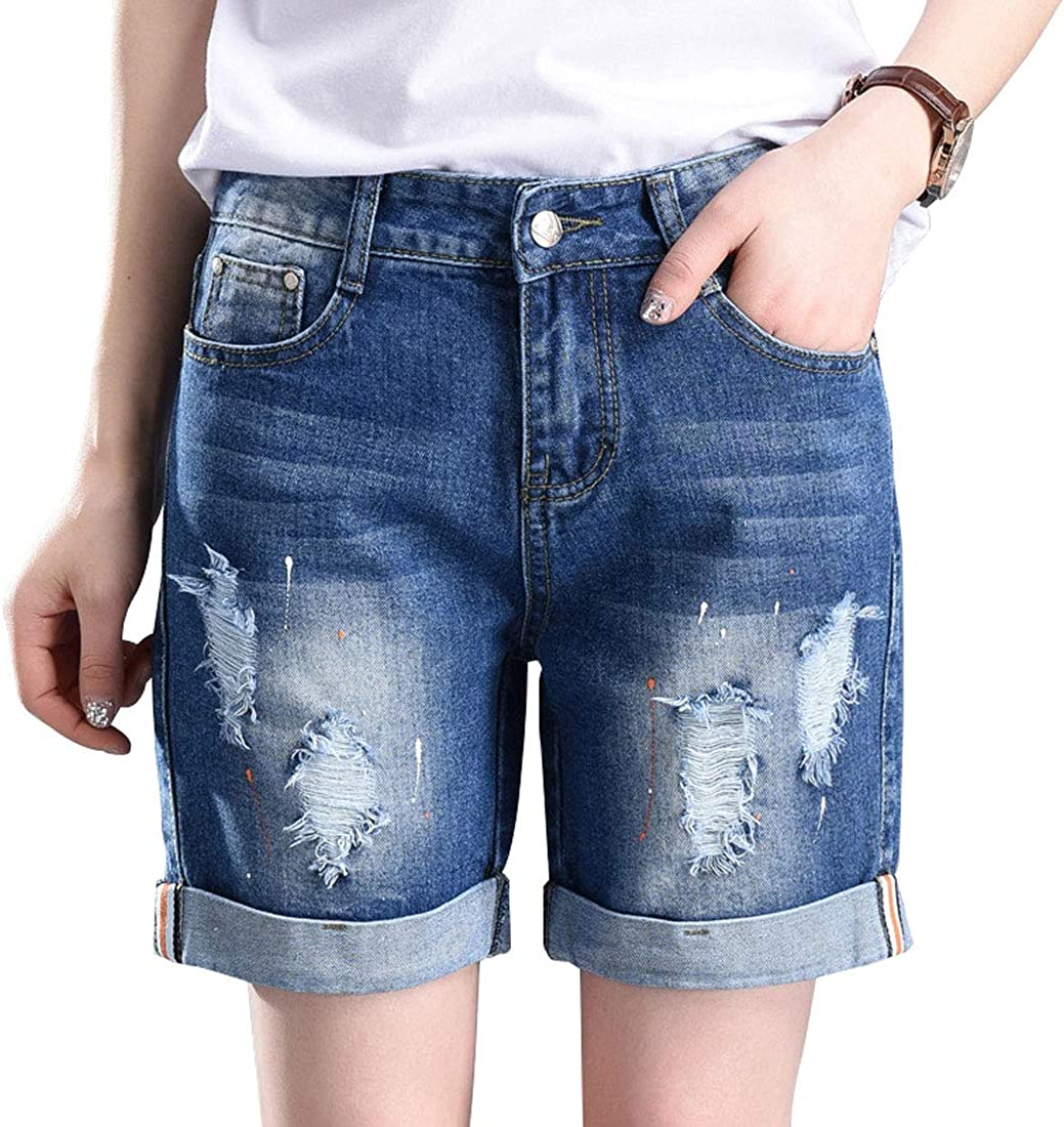 chouyatou Women's Distressed Frayed Ripped Holes Folded Hem Relaxed Fit Denim Jean Shorts