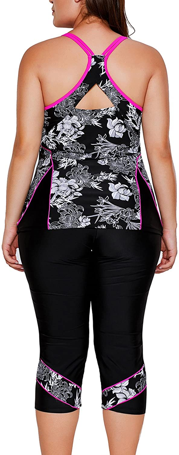 M-3XL AlvaQ Womens Plus Size Two Piece Swimsuits Tank Floral Tankini with Capris Bottom