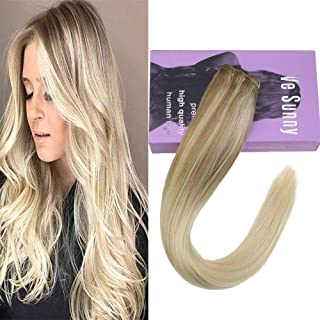 VeSunny Double Weft Hair Extensions Blonde Balayage Human Hair Color #Nordic Blonde Ombre Hair Weft Remy Hair Extensions One Bundle 100G 18inch